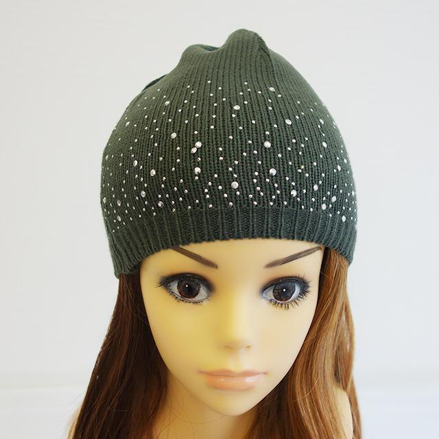キラキラビジューのコットンニット帽hat-01